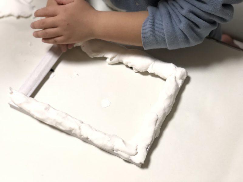 手作り写真立て 紙粘土