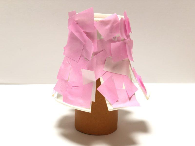 春の工作 トイレットペーパーの芯 桜の木