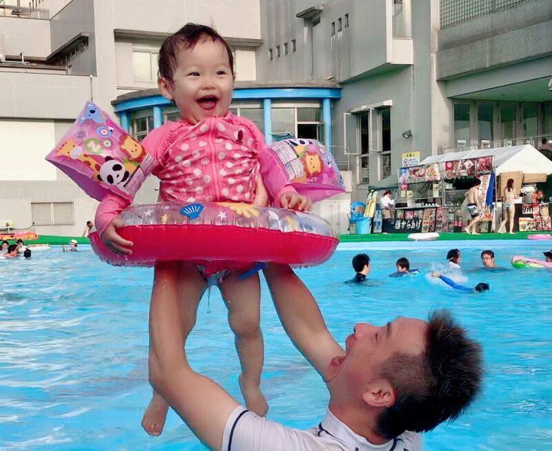 小川圭子さん夫と娘